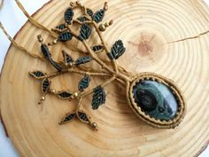 tree of life,jasper necklace,macrame necklace,cabochon necklace,thread necklace,gemstone necklace,handmade necklace,festival necklace,hippie