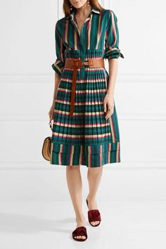Want: Etro Pleated striped cotton-blend dress  Multicolored cotton-blend Partially concealed button fastenings along front 74% cotton, 26% viscose Dry clean Made in Italy