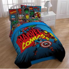 Outfit your kid's bed with a superhero themed comforter and sheets. | 23 Ideas For Making The Ultimate Superhero Bedroom