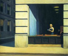 New York Office (1962). Edward Hopper (American, 1882-1967). Oil on canvas. Montgomery Museum of Fine Arts. The animation of urban life is suspended for a brief moment, haste and unrest come to a standstill, revealing the absurdity of the rat race. A secretary behind a big picture window reads a letter in her hand, apparently lost in thought - until the telephone ringing on her desk recalls her to the real world.