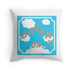 Dream On with Plane~by Jacqueline Cooper~ Reach for the sky! There is no dream off limits with this children inspired graphic design decorative throw pillow of the inspirational quote Dream On in a blue sky with billowing clouds and airplane. Perfect for a child's room or nursery! It can be purchased at REDBUBBLE as a pillow, print or on many great products.  Just click on the link below!  You can find more inspirational quotes and mindful reads at myaspiringsoulfullife.com.