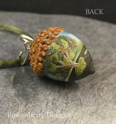 Handmade Lampwork Glass and Sterling Silver Oak by RowanberryGlass