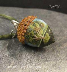 Handmade Lampwork Glass and Sterling Silver Oak by RowanberryGlass
