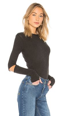 22266ef4ea4 Shop for Enza Costa Cashmere Elbow Slash Top in Charcoal at REVOLVE. Free 2-