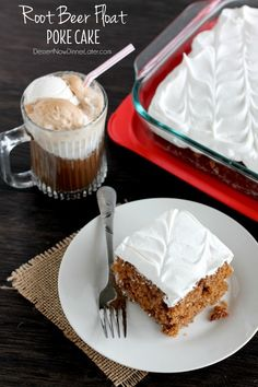 Easy Root Beer Float Poke Cake on MyRecipeMagic.com #rootbeer #rootbeerfloat #cake #dessert