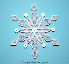 Quilled Snowflake Handmade Christmas Ornament White Paper