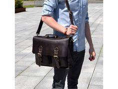 Leather Briefcase Laptop Men's Organizer Bag