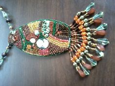Bead Embroidery Pendant with fringe
