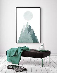 Scandinavian Print, Printable Nordic Poster, Mid-Century Art, Modern Geometric Print, Mountain Poster, Scandinavian Geometric Art