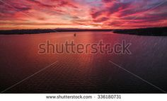 Sunset aerial view over the lake