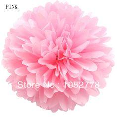 "Light Pink Pom Pom 200 PCS 14"" Tissue Paper Pom POm Flowers Hanging Flower For Valentine's Day Free SHipping $200.00"