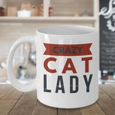 Funny Cat Mug  Crazy Cat Lady Black/Red  by MugsAndMoreGifts