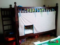 """Bunk bed tent - Think I'm going to do this with batman fabric and call it """"The Batcave""""!"""
