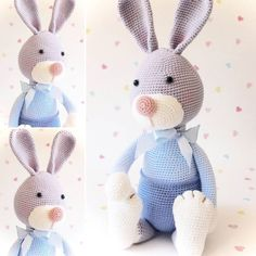"167 Beğenme, 4 Yorum - Instagram'da Laurie (@fuzzpotlanedesigns): ""More pictures of Arnold, the little grey baby bunny....all dressed in blue. Have a great day people…"""
