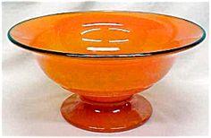 Lancaster Glass Pedestal Bowl Orange 1920's