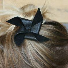 Leather Pinwheel Hair Bow