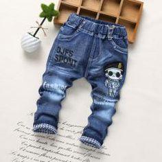 [ 30% OFF ] Spring Fashion Denim Kids Jeans Baby Boy Trousers Autumn Embroidery Cartoon Pattern Denim Jeans Children Pants 2-6Y