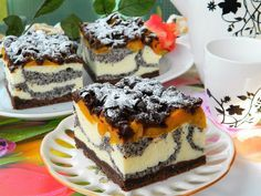 Idealne ciasto na święta, które łączy w sobie: kruchość kakaowego ciasta, sera, maku, kokosu i brzoskwiń. Dodatkowym atutem jest efektowny wygląd. Polecam :) Sweet Recipes, Cake Recipes, Dessert Recipes, Polish Desserts, Cheesecake, Homemade Cakes, Yummy Cakes, No Bake Cake, Amazing Cakes