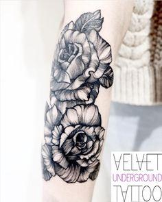 Blackwork Rose Half Sleeve Tattoo by Emily Brown at Velvet Underground Tattoo