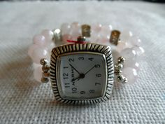 Beaded Stretch Watch Band Pink Faceted Glass by LindersCreations, $24.00