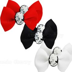 rockabilly bows   Bow Hair Clips with Skull Cameo Barrettes Rockabilly Pin Up Gothic ...
