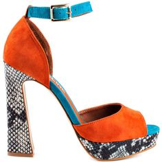 Madeline Girl Women's Teddy - Rust ($39) ❤ liked on Polyvore featuring shoes, accessoriesshoes, snakeskin print shoes, madeline girl, madeline girl shoes, colorful high heel shoes and python shoes