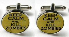 Silver Bezel CuffLinks Glass Round Keep Calm Kill Zombies Wedding Brains Gothic. Zombie Wedding, Halloween Fashion, Practical Gifts, Wedding Inspiration, Wedding Ideas, Wedding Stuff, Etsy Uk, Chic Wedding, Cufflinks