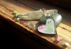 Valentine Heart necklace Love bird nature  Handmade by kmaylward