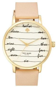 Kate Spade New York Kate Spade 'time On Wire' Leather Strap Watch, 34mm