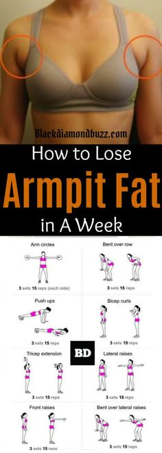 How to Get Rid of Armpit Fat in a Best Underarm Fat Exercises Arm fat workout Lose Armpit Fat, Lose Belly Fat, Fitness Workouts, Fitness Diet, Arm Workouts, Health Fitness, Lifting Workouts, Fitness App, Training Workouts