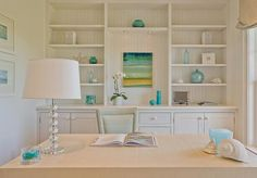 This is what I want to do in my office. White on white with a splash of the blue in my chandelier that is over my desk right now. built in shelving for office