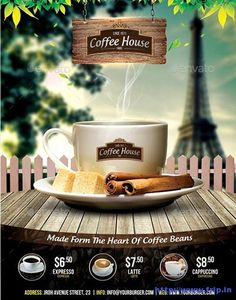 50 Best Coffee Shop Flyer Print Templates 2019   Frip.in Food Poster Design, Typography Poster Design, Creative Poster Design, Creative Posters, Flyer Design, Coffee Shop Menu, Best Coffee Shop, Coffee Club, Coffee Art