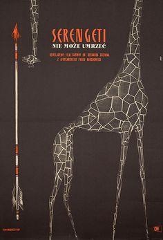 ♥ 1963 Polish poster for SERENGETI SHALL NOT DIE (Bernhard Grzimek, West Germany, 1959) - Roman Opalka (1931-2011)