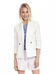 Nothing kicks up your style like a blazer. And, this white, seersucker one from Banana is perfect for spring/summer!