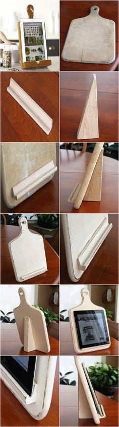 Hunt down Scrabble tile holders for butcher board tablet holder.