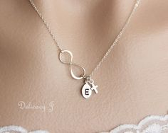 Cross infinity necklace, Initial necklace, Cross necklace, Monogram necklace, Baptism gift, Bridal party gift, Wedding jewelry, Mother day. $30.00, via Etsy.