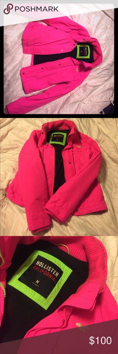Hollister Jacket Bright pink and lime neon green never worn Hollister Jackets & Coats