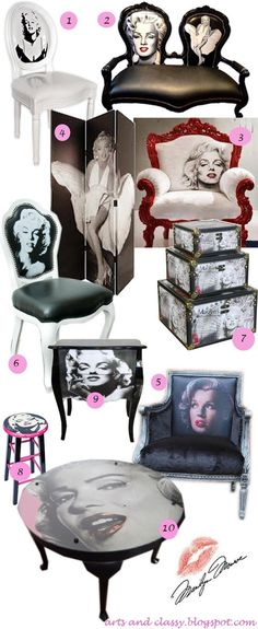 Diy Home decor ideas on a budget. Marilyn Monroe Inspired Furniture and Decor in Honor of Her Birthday via www.artsandclassy.com !
