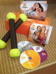"""Live it Up"" ZUMBA Gold Fitness Set ~ 3 DVDs & Toning Sticks ... #healthy #gift"