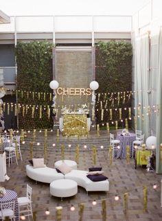 Love the gold overhead decorations #glitter #gold #wedding #decor #reception