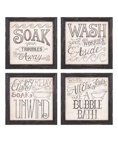 Another great find on #zulily! 'Bubble Bath' Wall Art - Set of Four #zulilyfinds