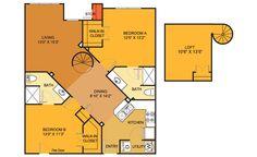 B6 floorplan (2 bed, 2 bath. 1030 sq. ft.) at Villas on Guadalupe, Austin, TX