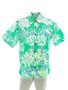 ea5c5b52 [Exclusive] Anuenue Dahlia Green Poly Cotton Men's Hawaiian Shirt    AlohaOutlet