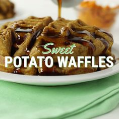 Guilt-free waffles using no refined sugars or flours! Sweet Potato Waffles, Pancakes And Waffles, Healthy Eating Recipes, Cooking Recipes, Tastemade Recipes, Waffle Recipes, Potato Recipes, Foods With Gluten, Guilt Free