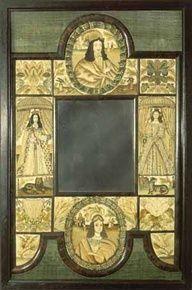 17th century  stumpwork embroidery mirror