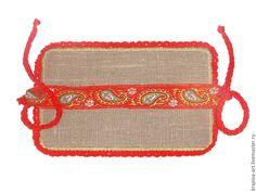 Купить Накладка из крапивных волокон. - серый, красный, красный цвет, серый…