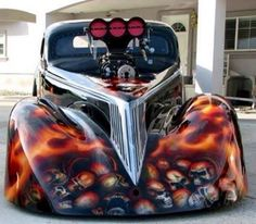 Badass Hot Rod #BadassHotRod #Airbrushed #Skulls #GiganticBlower #Cars #Kamisco