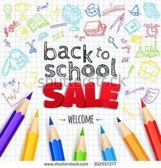 Welcome back to school SALE background, with hand drawn doodle elements and realistic pencils.  Vector illustration.  - stock vector