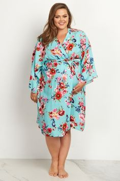 Mint Green Floral Delivery/Nursing Plus Size Maternity Robe