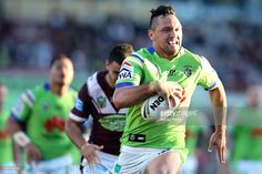 Jordan Rapana runs toward the try line during the round 25 NRL match between the…